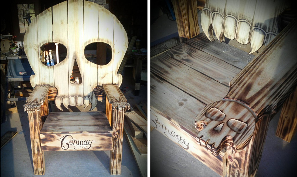 Wood Skull Lawn Chairs ~ Wooden skully outdoor chair sugar skull culture