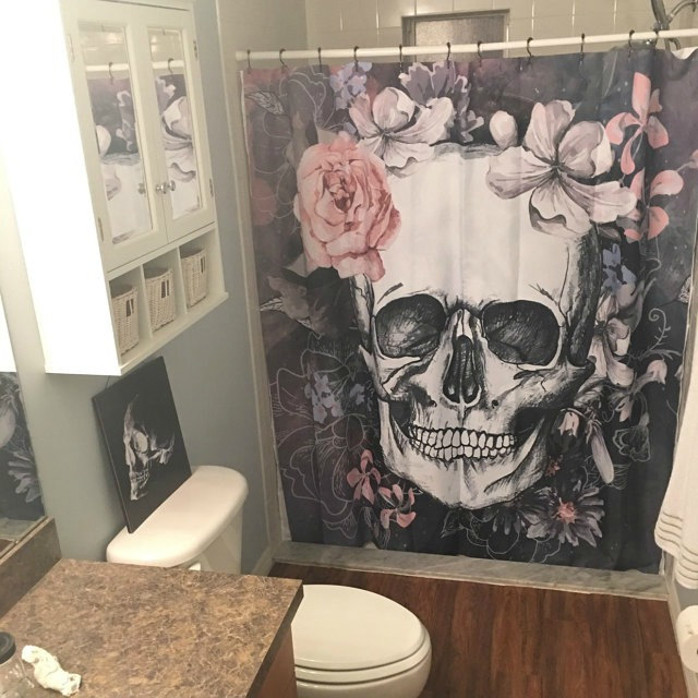 Grey Tones Skully Shower Curtain And Mat