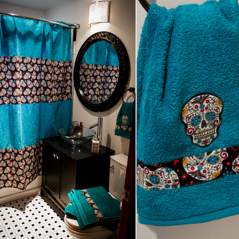 Sugar Skull Shower Curtain With Matching Towels – Sugar Skull Culture