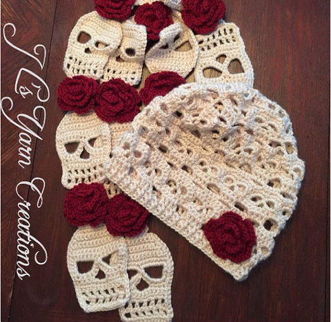 Sugar Skull Crocheted Hat Scarf Set Sugar Skull Culture