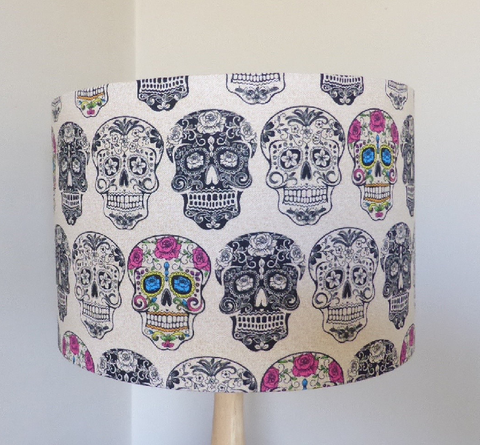 Sugar skull lampshade sugar skull culture this great sugar skull lamp shade makes an eye catching addition to any room put it on a lamp on a side table in your living room or get two for either aloadofball Image collections