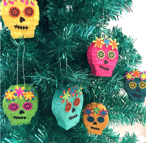 deck the halls with mini piata sugar skulls these adorable christmas tree ornaments make a great gift or tree decoration - Christmas Sugar Skull