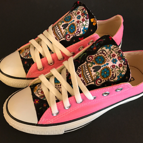 330c36e564e Everyone needs at least one pair of Converse shoes and these pink sugar  skull Chuck Taylors won t disappoint if they re your one and only!