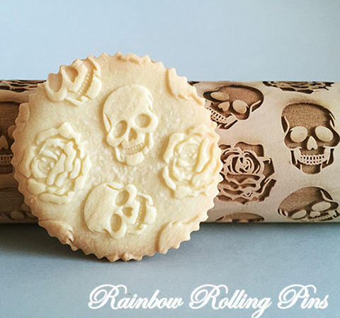 Embossed sugar skull rolling pin sugar skull culture amuse your kids in the kitchen on a rainy day by letting them create their own works of art from cookie dough solutioingenieria Images