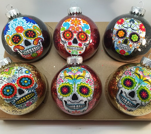 this sugar skull christmas ornament set must be the perfect christmas buy for any sugar skull lover youll enjoy them all through the coming silly season - Christmas Sugar Skull