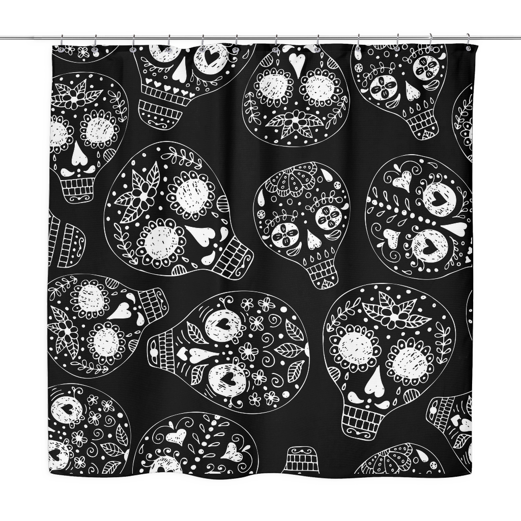 Freehand Sugar Skull Shower Curtain