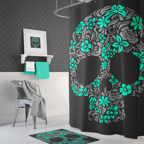 Floral Skull Shower Curtain - Aqua & Grey On Black – Sugar Skull Culture