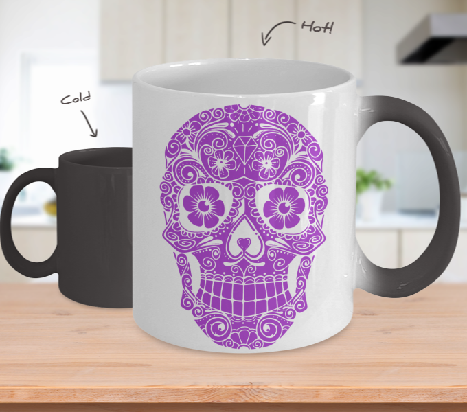 Sugar Skull Color Changing Mug Neon Purple Sugar Skull Sugar
