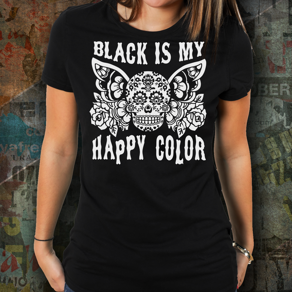 black is my happy color butterfly skull t shirt gray on black size sugar skull culture. Black Bedroom Furniture Sets. Home Design Ideas
