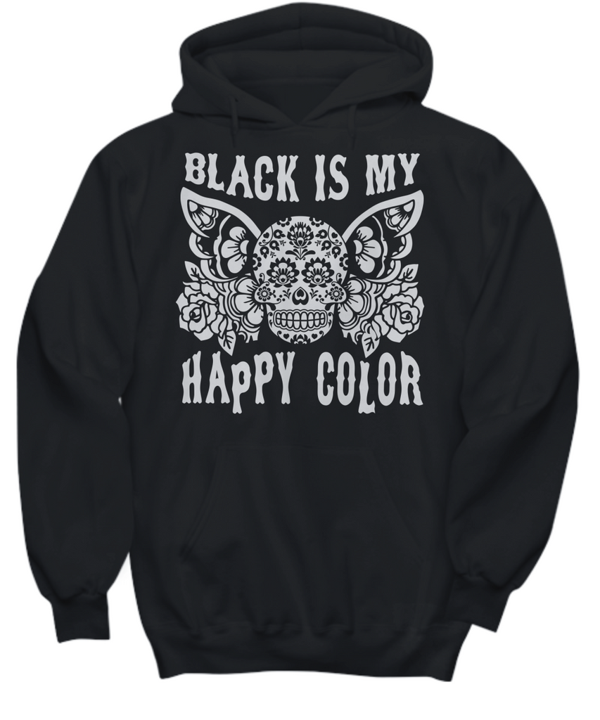 T shirt black is my happy color -  Black Is My Happy Color Butterfly Skull Hoodie Gray On Black Sizes Up To