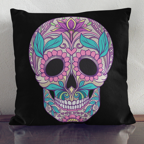 Sale Leafy Skull Throw Pillow Cover   Multiple Colors On Black