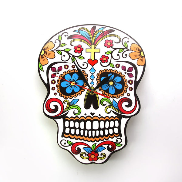 Day Of The Dead Bathroom Set: Colorful Sugar Skull Wall Clock