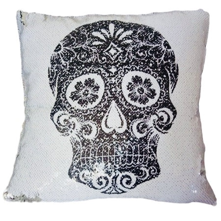 Throw Pillow Covers.Sugar Skull Sequin Throw Pillow Cover