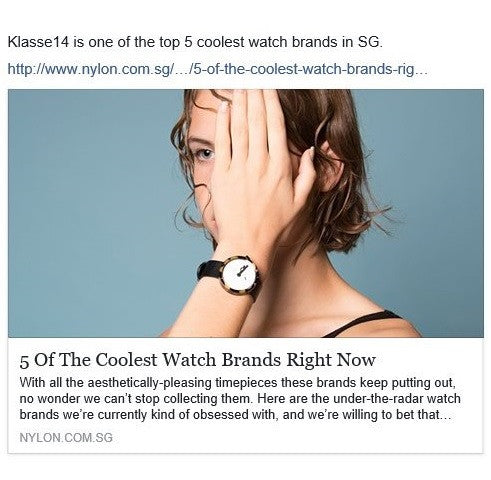 Klasse14 is one of top 5 coolest watch brands in Singapore