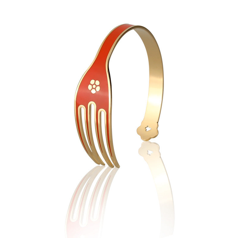 4-CHETTA - Golden Base with Orange Enamel Bracelet