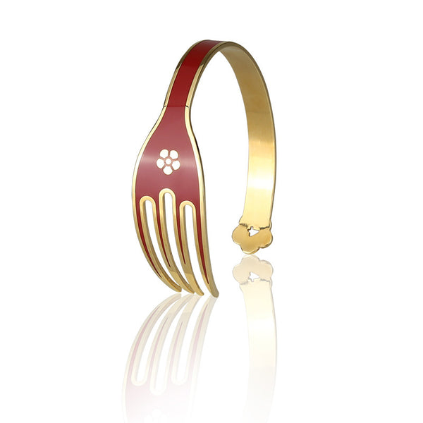 4-CHETTA - Golden Base with Red Enamel Bracelet