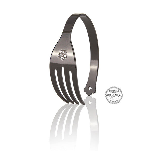 4-CHETTA - Black Ruthenium with Swarovski Bracelet