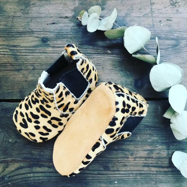 'Wild One' Leopard print baby chelsea boots