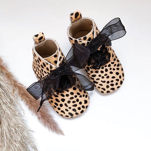 'Cheetah' Derby Baby Booties