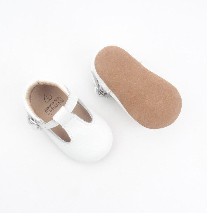 'Chalk' white leather t-bar soft sole baby shoes