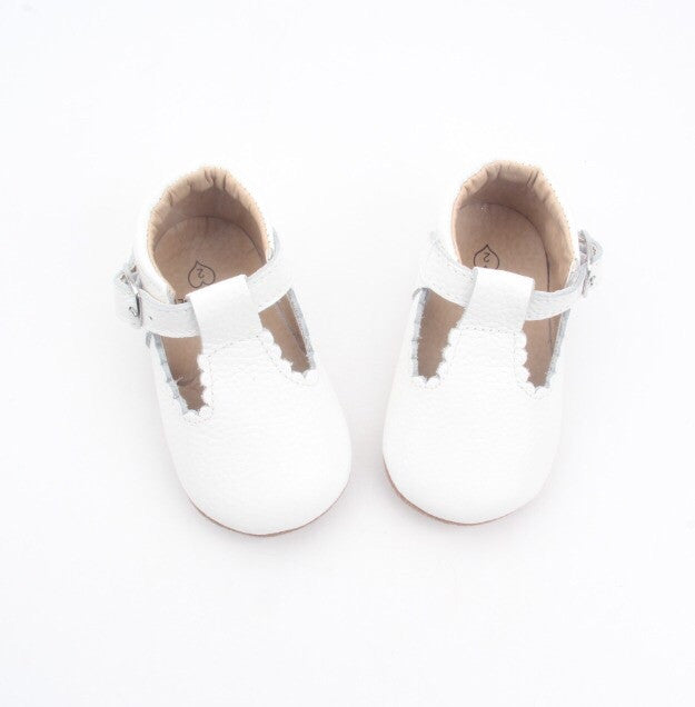 'Cloud' white leather t-bar soft sole baby shoes