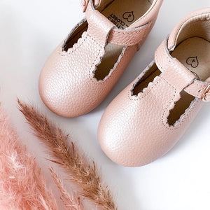 'Vintage Pink' Scalloped T-bar Children's Shoes - Hard Sole