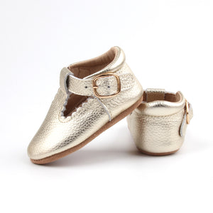 'Grecian' Scalloped T-bar Shoes - Baby Soft Sole