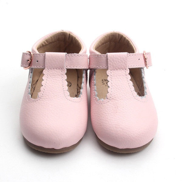 'Dolly-Blush' pink leather t-bar hard sole toddler & children's shoes