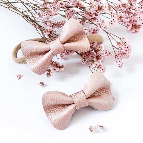 'Vintage Pink' Leather Hair Bow's