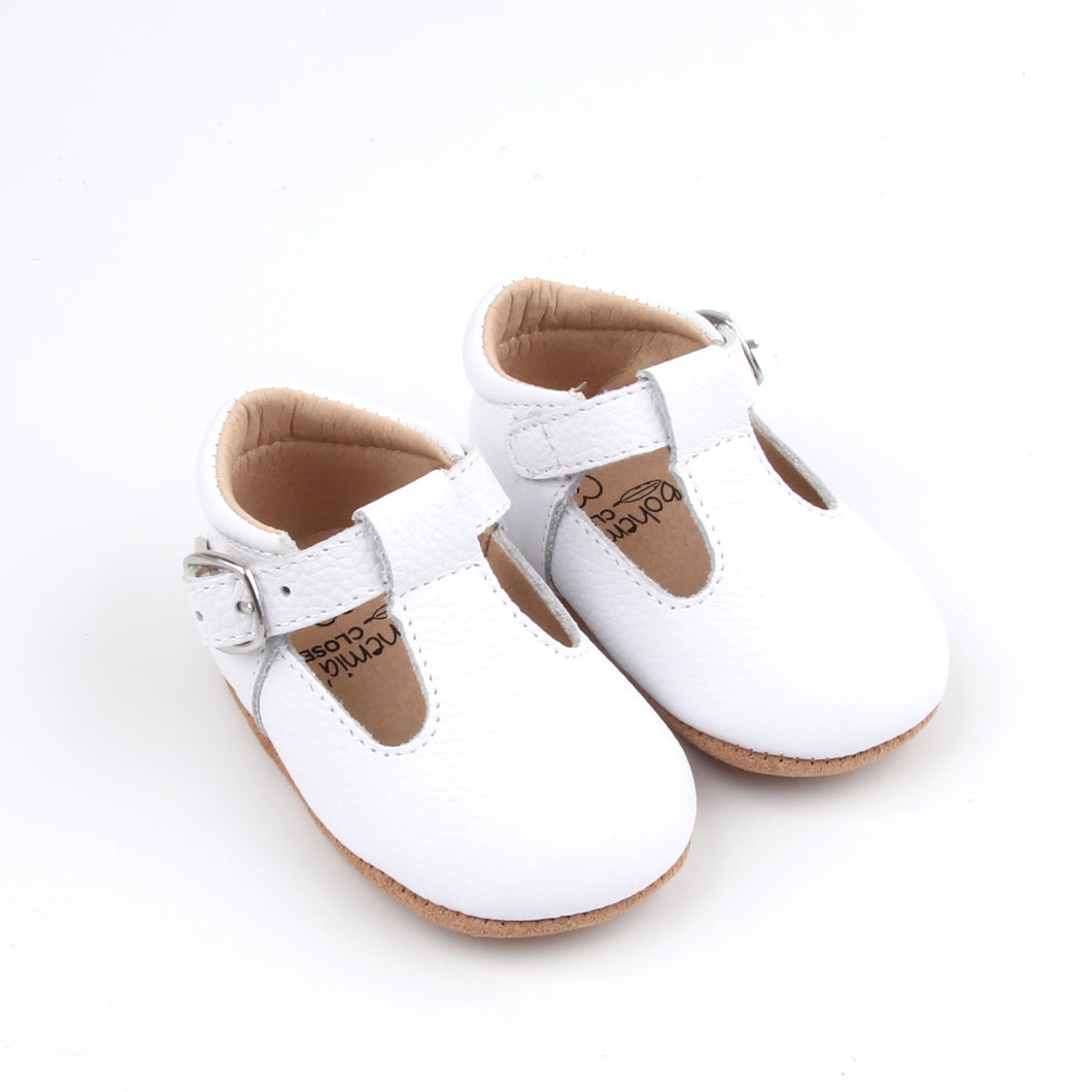 'Chalk' Traditional T-bar Shoes - Baby Soft Sole