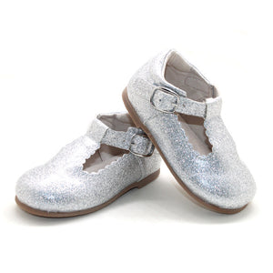 'Unicorn' Glitter T-bar Shoes - Toddler Hard Sole