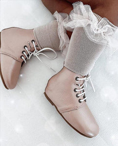 'Vintage Pink' Children's Derby Boots - Hard Sole
