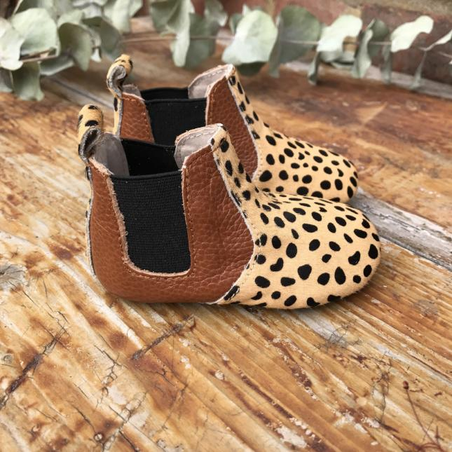 'Beau 2' Cheetah print ponyhair leather baby chelsea boots