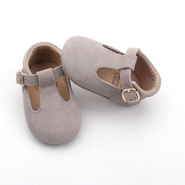 'Bunny' grey suede t-bar soft sole baby shoes