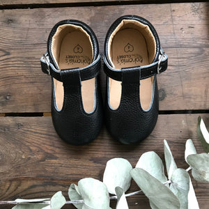 'Ebony' black leather hard sole toddler & children's t-bar shoes