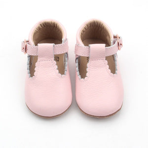 'Dolly-Blush' Scalloped T-bars - Soft Sole