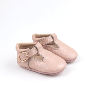 'Vintage Pink' Scalloped T-bars - soft sole baby shoes
