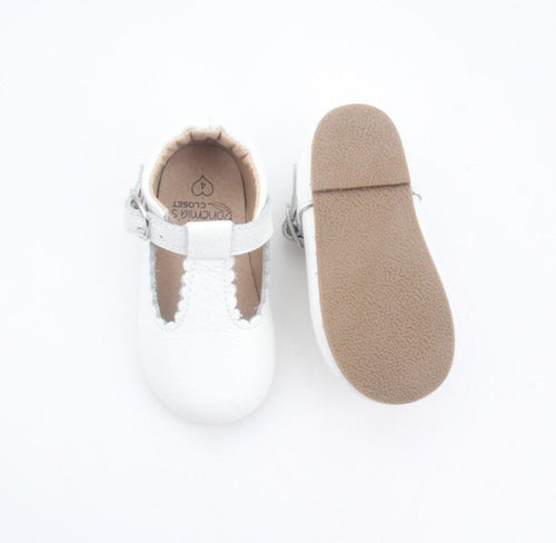 'Cloud' white leather t-bar hard sole toddler & children's shoes