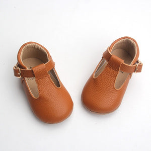 'Indie' Tan leather hard sole toddler & children's t-bar shoes
