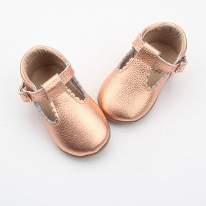'Dolly-Rose' Rose gold leather t-bars soft sole baby shoes