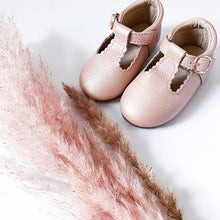 Load image into Gallery viewer, 'Vintage Pink' Scalloped T-bar Children's Shoes - Hard Sole