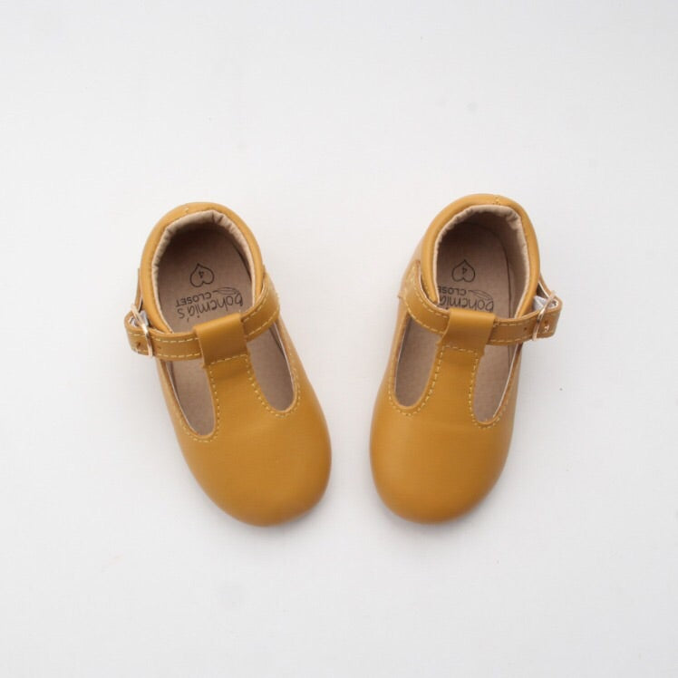 'Mustard' leather hard sole toddler & children's t-bar shoes