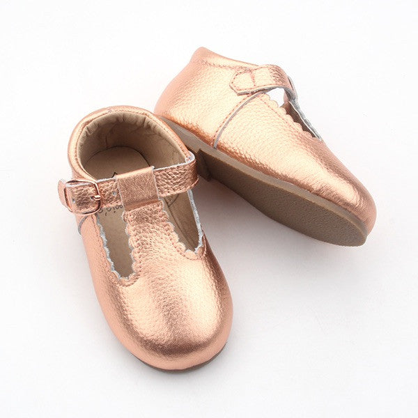 'Dolly-Rose' Rose gold leather t-bar hard sole toddler & children's shoes