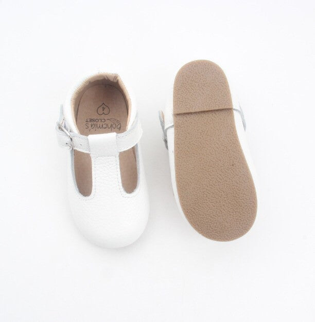 'Chalk' white leather t-bar hard sole toddler & children's shoes