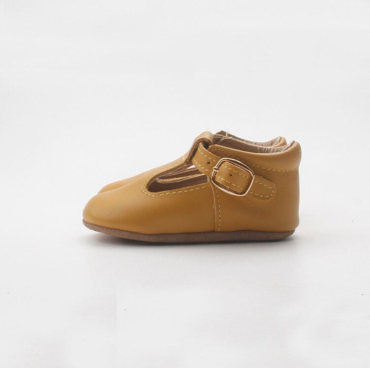 'Mustard' leather soft sole baby t-bar shoes