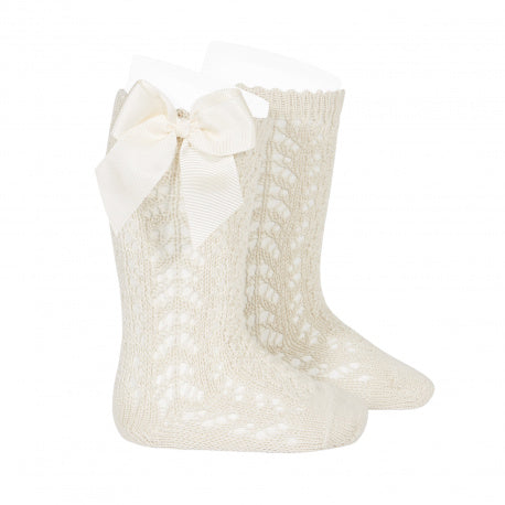 Condor Perle Openwork Knee High Socks With Bows