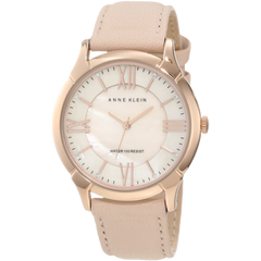 Anne Klein Women's AK 1010RGLP Rose Gold Tone Watch with Swarovski Crystals and Leather Band
