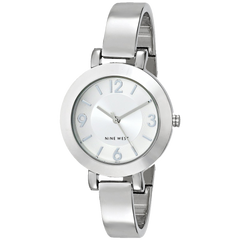 Nine West Women's NW 1631SVSB Silver Tone Sunray Dial and Bangle Watch