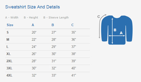 Sweatshirt Size and Details