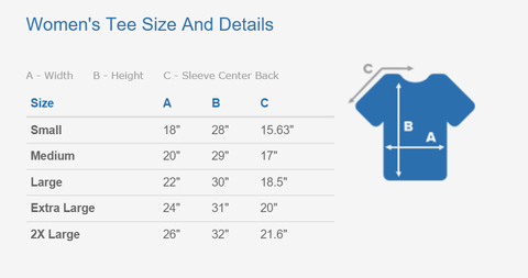 Women's Tee Size and Details